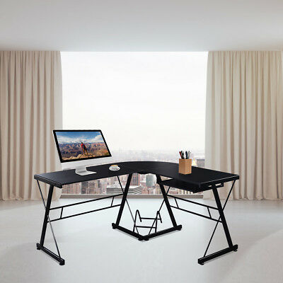 L-Shape Computer Desk PC Wood Laptop Table Workstation Corner Home Office Black