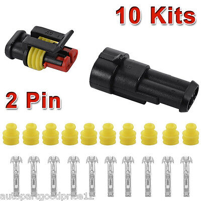 10 Kit 2 Pin Way Sealed Waterproof Electrical Wire Connector Plug For Car Truck