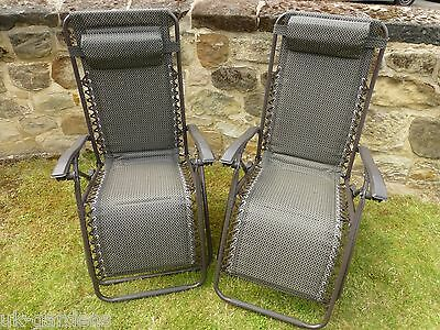 Garden Chair - Set of 2 Padded Brown Sun Lounger Chairs - Weatherproof Textoline