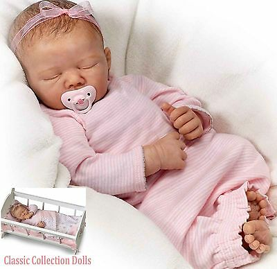 "Ashton Drake ""ROCK-A-BYE-BABY""-LIFELIKE BABY DOLL WITH CRADLE-NEW-IN STOCK NOW !"