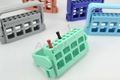 16holes Dental Bur Block Holder Stand Autoclave Disinfection Box For Expand Burs