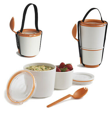 Orange & White Lunch Pot by Black and Blum ~ stacking lunch pot