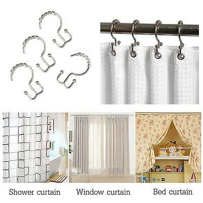Durable 'W' Type Metal Balls Roller Shower Curtain Ring Hook for Bathroom Rod