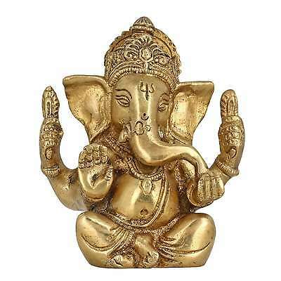 God Of Luck Seated Lord Ganesha Religious Gifts Brass Metal Art Home Décor