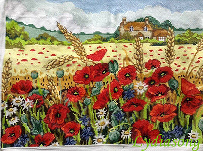 """New Completed finished cross stitch""""POPPY GARDEN""""home decor gifts"""