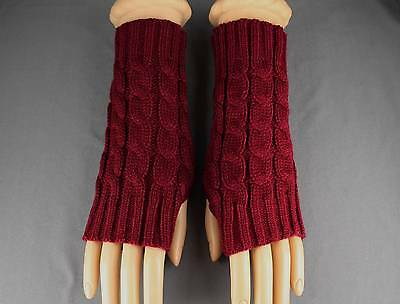 Burgundy Red cable knit arm warmer fingerless gloves warmers open thumb texting