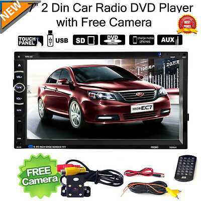 7'' Double 2 Din Touchscreen In Dash Car Stereo Radio MP3 CD DVD Player + Camera