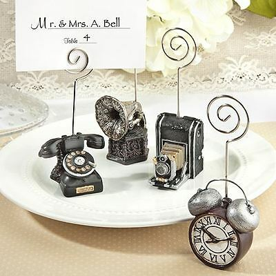 6 Assorted Vintage Name / Memo Note Wedding Place Cards Holders Favours Gifts