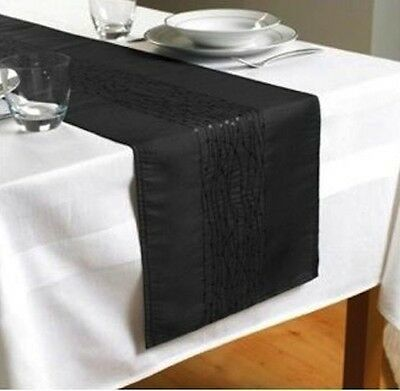 "Black Embroidered Taffeta Table Runner 90"" x 13""  (230cms x 33cms)"