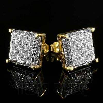 18K Gold ICED OUT Simulate Diamond Micro pave AAA Earring Stud Square Hip Hop 8G