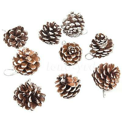 9 Real Natural Small Pine cones for Christmas Craft Decorations White Paint L5RG