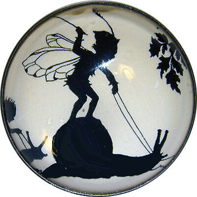 Crystal Dome Button Fairies Silhouette Riding Snail F22  1inch