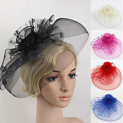 Flower Dot Feather Mesh Fascinator Cap with Clips Royal Ascot Veil Net Hatinator