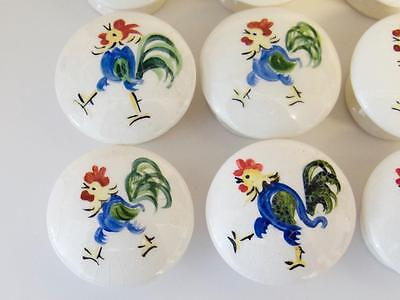 VTG Ceramic Rooster Door Knobs Handles - Set of 14, 1950s, Italian or Portuguese