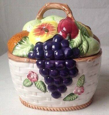 Fruit Basket Cookie Jar Canister w Apples Grapes