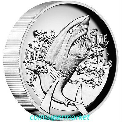 2015 Australia The Great White Shark 1oz Silver Proof High Relief Coin Perth OGP