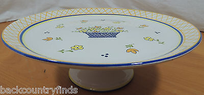 """Horchow White Blue Yellow Flower Basket 11 1/2"""" Cake Plate Stand"""