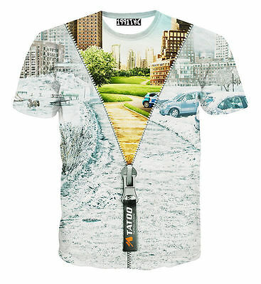 New Fashion Womens/Mens Scenery Snow Street 3D Print T-shirt Casual Tops Tee