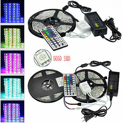 Full Kit 5M 10M 300/600 LED 5050 SMD RGB Light Strip + Remote+ 12V 5A/10A Power