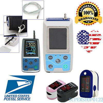 NIBP Monitor 24HOUR Ambulatory Blood Pressure Holter ABPM 50+SOFTWARE+Oximeter