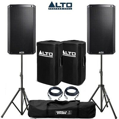 Alto TS215 Active PA Speaker Pair with Tripod Stands, Speaker Covers, and Cables