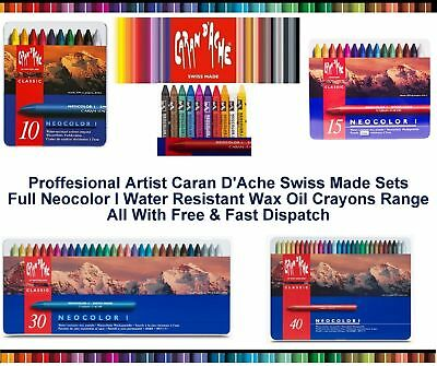 Caran Dache Neocolor I Wax Oil Crayons Pastels Water Resistant Sketch Metal Case