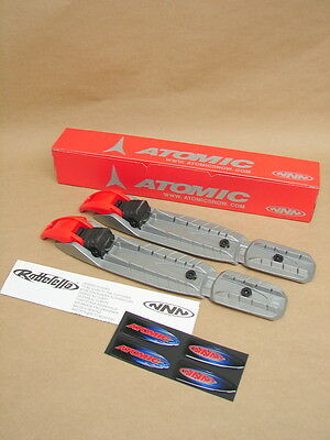 NOS Atomic Rottefella NNN XC Cross Country Junior Ski Bindings Silver Red