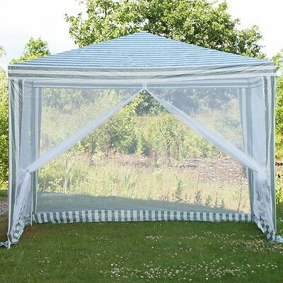 2.4m x 2.4m Outdoor Garden Gazebo Marquee Canopy Party Wedding Tent inc Fly Net