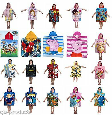 Character Hooded Bath Beach Towel Poncho Kids Boys Girls Marvel Frozen Cartoon