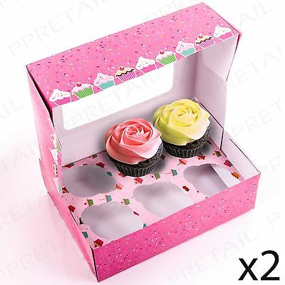 2 x DEEP CUPCAKE BOXES + INSERTS HOLDERS Cake/Fairy/Muffin/Tray/Gift 6 HOLE EACH
