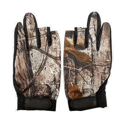 1 Pair 3 Cut Finger Anti Slip Green Camo Camouflage Fishing Fish Gloves Tackle