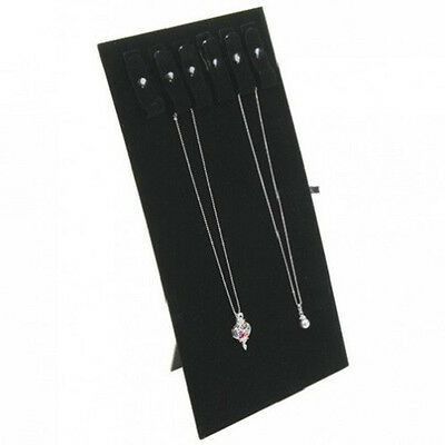 """New Black Velvet Chains Jewelry Display Easel w/ Snaps 14""""H"""