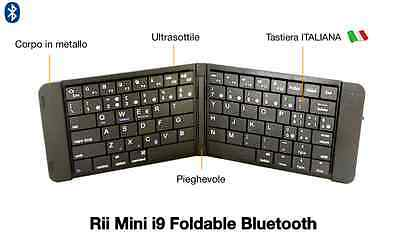 Rii Mini i9 Foldable Bluetooth - Tastiera pieghevole per Android, iOS, Windows