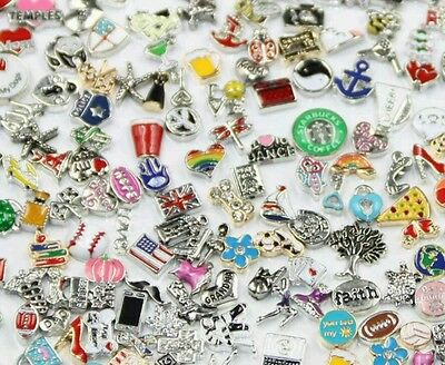 100 Mixed Lot of Assorted Floating Charms + 25 FREE Birthstone Charms