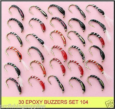30 mixed EPOXY BUZZERS trout fly fishing flies new SET 104-HB