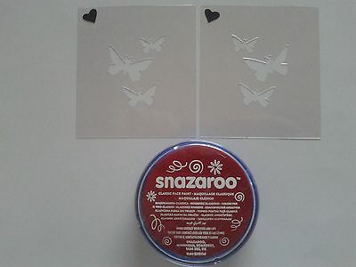 Red butterfly face painting set incl stencils & face paint butterflies