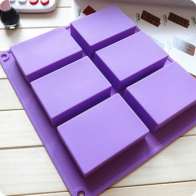 6-Cavity Rectangle Soap Mold Silicone Mould Tray Craft Making Multi Color