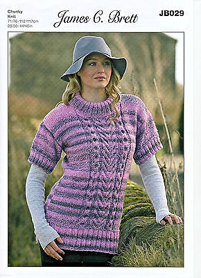 James C Brett Ladies,marble Chunky Knitting Pattern, Round Neck,cable, Sweater