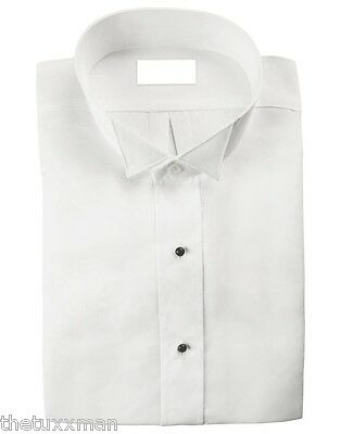 NEW Mens White Wing Collar Flat Front Non Pleated Tuxedo Shirt ALL SIZES