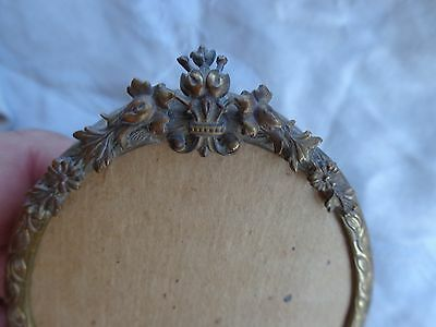 Antique Victorian French 19Thc Gold Gilt Bow Crest Floral Miniature Photo Frame