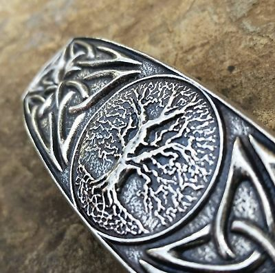 WORLD TREE Oberon Design PEWTER BARRETTE jewelry hair clip oak celtic knot PB11
