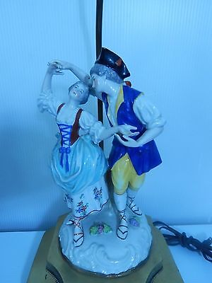 "Antique Figural Couple Porcelain Capodimonte and Brass Lamp Signed 33 1/2"" H"