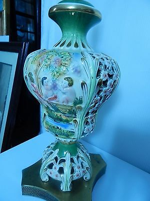 Antique Figural Children Reticulated Porcelain Capodimonte and Brass Lamp