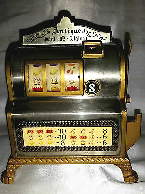 Slot Machine Antique $ Japan Accendino Vintage In Metallo Arredo Da Tavolo