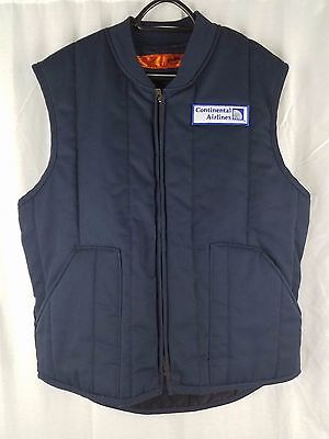 VTG Continental Airlines Employee Padded Vest sz Large Blue