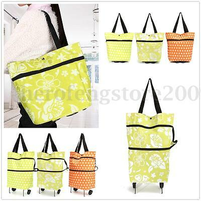 2in1 Push Tote Large Light Bag Wheel Folding Foldable Shopping Trolley luggage
