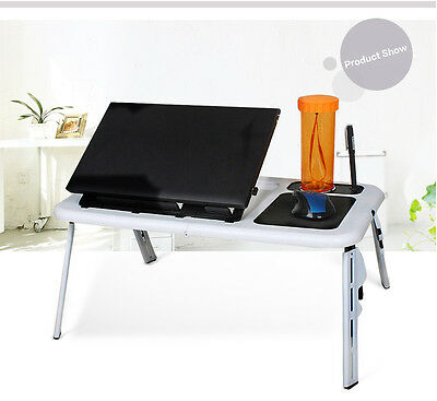 Laptop Desk Foldable Table e-Table Bed with USB Cooling Fans Stand Home TV Tray