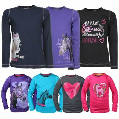 Red Horse Girls Kids Equestrian Fame Round Neck Vest Outdoor Printed Long Sleeve