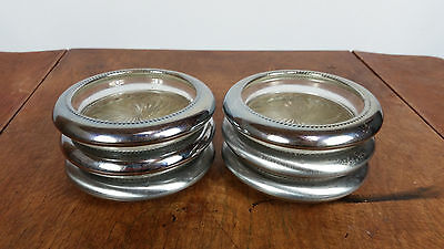 Vintage Mid Century 1970s Metal Silver Glass Cup Coasters Retro Atomic Clear