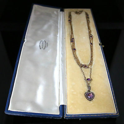 Antique Victorian Amethyst Gold Necklace Boxed